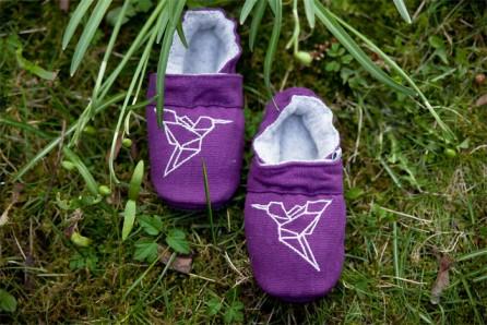 Hausschuhe-Lederfrei-Origamidesign-kolibri-Lila